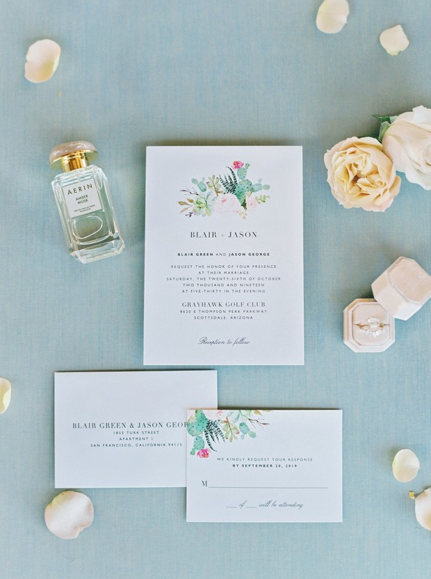 wedding invitation with flowers and cactus