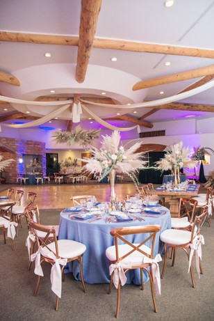 copper and blue wedding reception