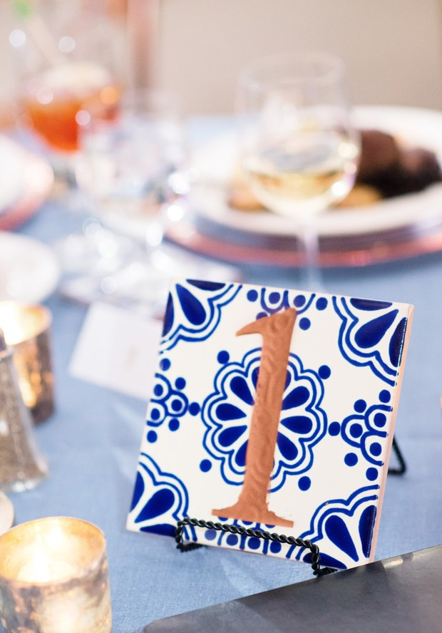 blue and copper tile wedding table number