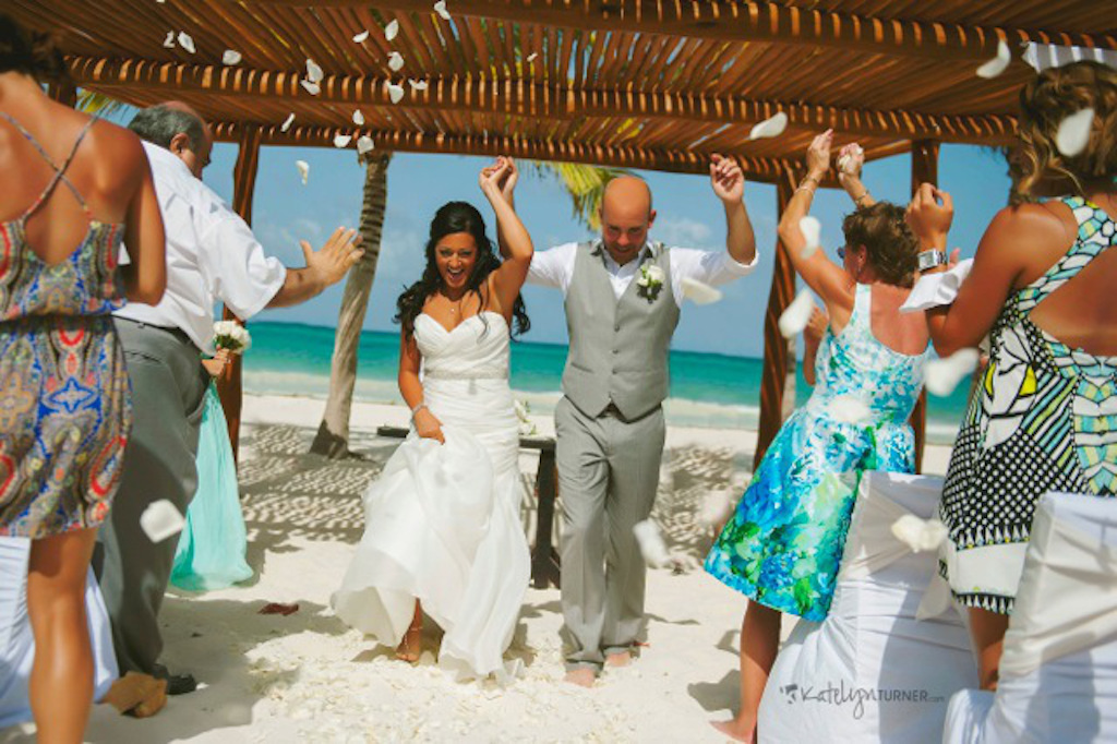 We make Destination Wedding easy. This fun couple married in Mexico on the beach. The best thing about it? They walked barefoot