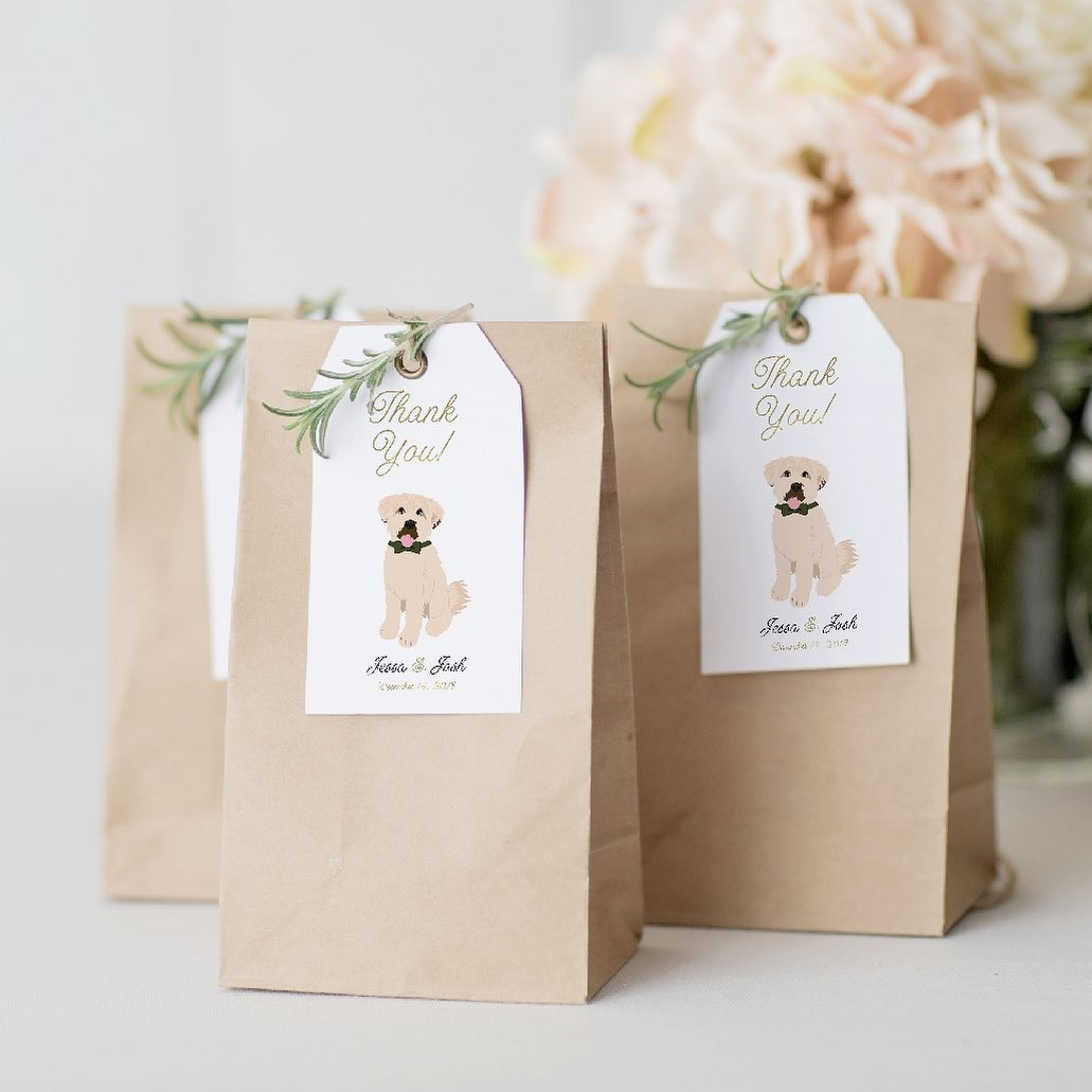 ⁠Send your wedding guests off with style! 🎉 These custom wedding favor tags are the paw-fect way to say thank you to all the