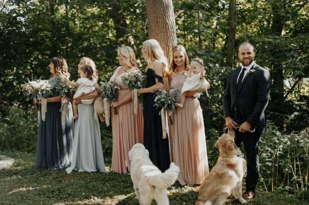 bridesmaids and wedding dogs