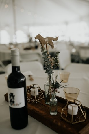 dog table number and custom wine label