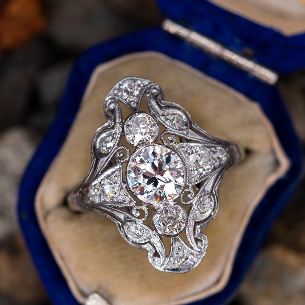 Circa 1910s. Old European cut diamond dinner ring. Sku AR60144.