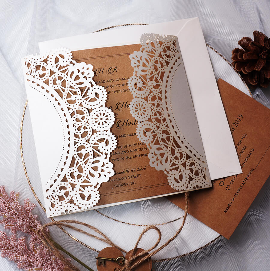 Our rustic love text and wedding invitation information are wrapped in a rustic white lace wild card and written on a kraft paper background