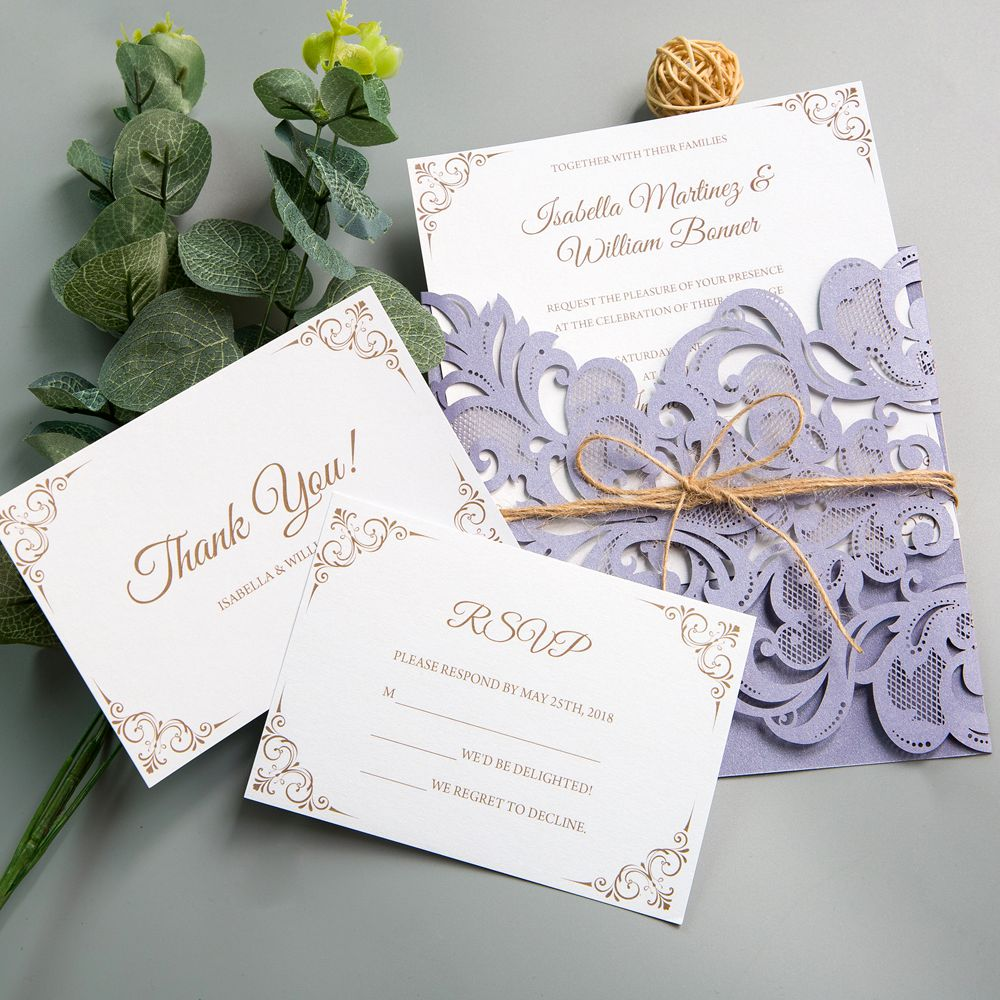 This lilac laser cut wrap includes a modern and clean styled white invitation, creating full readibility to your wording! The twine