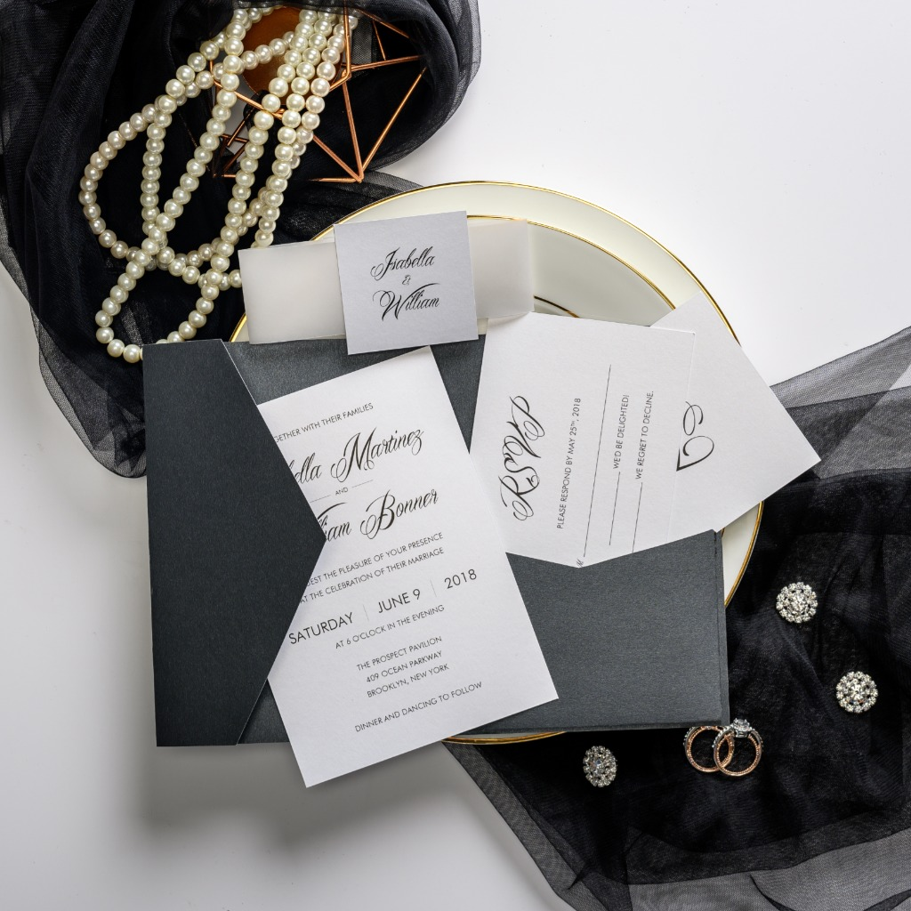 Anyone who wants a traditional wedding invitation for their upcoming nuptials should consider this sleek and classy design. The inside