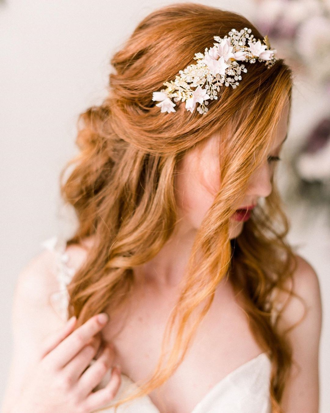 🌸Our gorgeous cherry blossom headpiece (style 4011) features hand made clay flowers, hand wired crystals, rhinestones, beads and