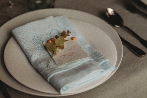 soft blue monogramed napkin place setting