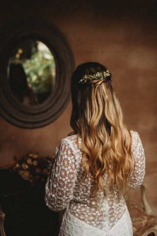 long hair bridal look
