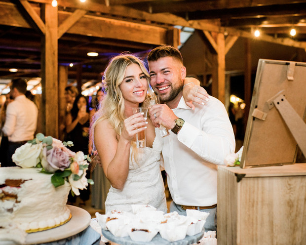 happy couple after cake face smash