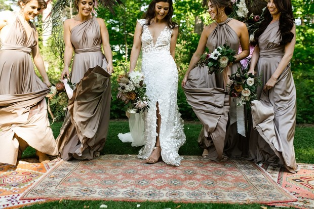 cute and candid bridal party dance photo idea