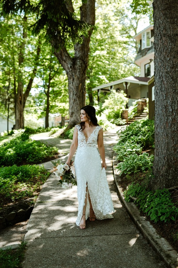lakeside wedding and a bride ready for the I dos