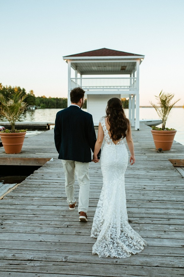 wedding couple portraits on a dock in Canada