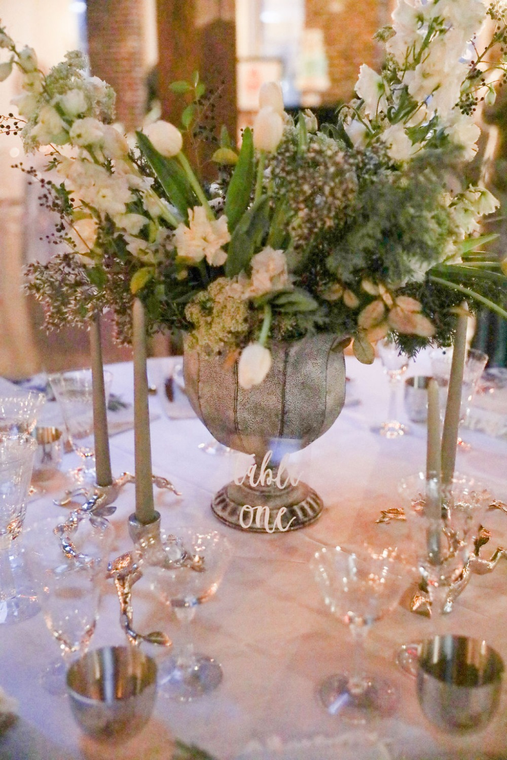 white and grey floral centerpiece