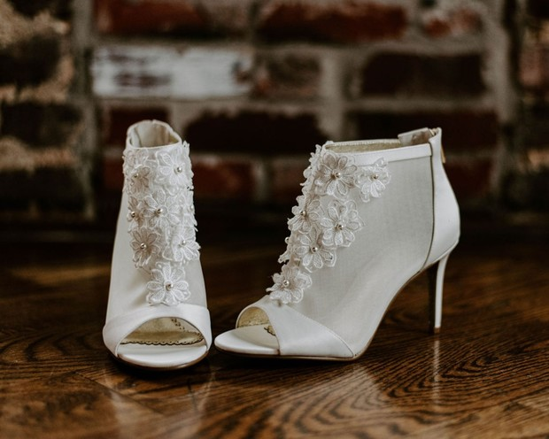 white wedding bootie shoes