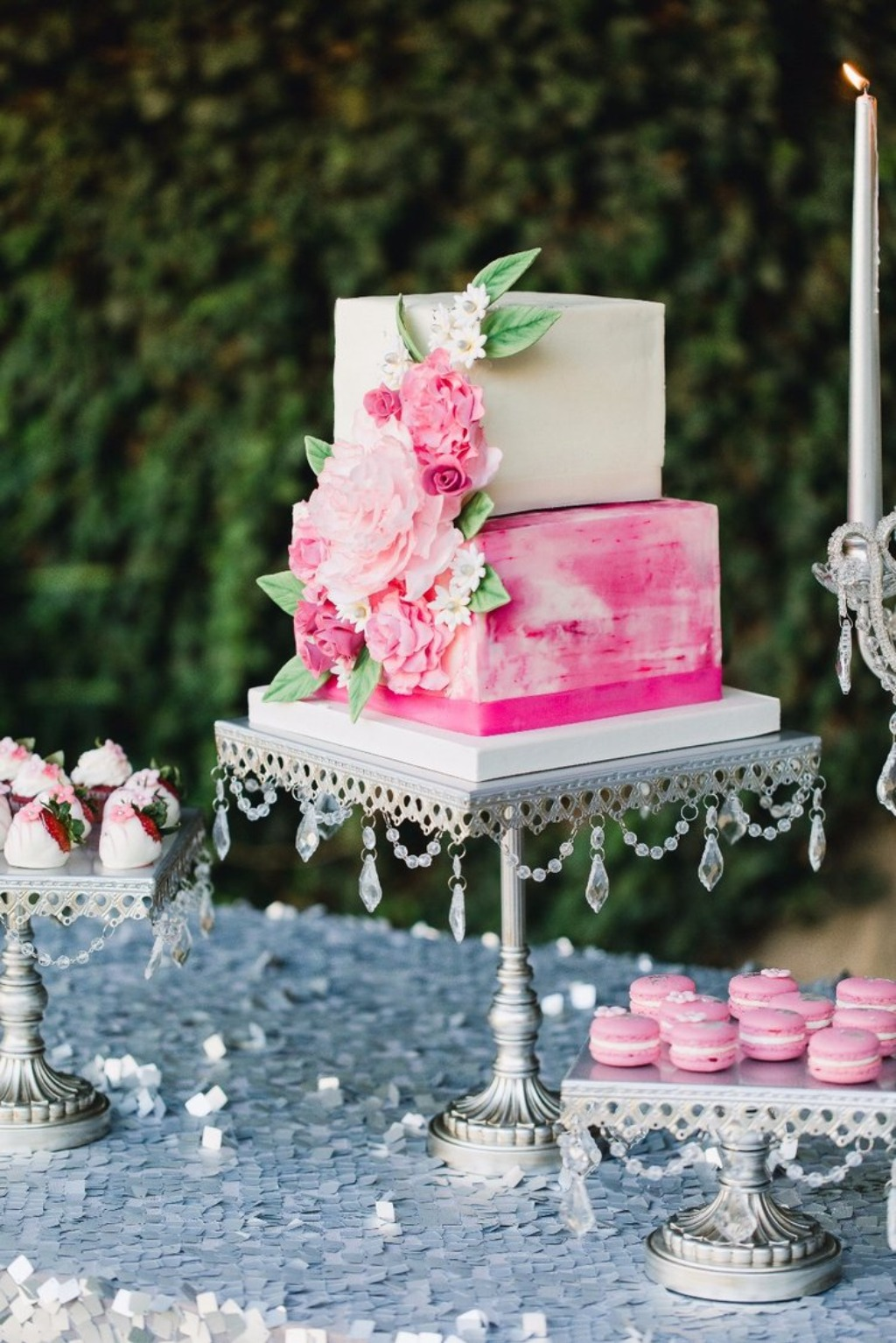 Pretty & Pink! Square Tiered Wedding Cake on Antique Silver Chandelier Cake & Dessert Stands created and sold by Opulent Treasures