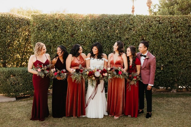 Bridemaids in velvet dresses