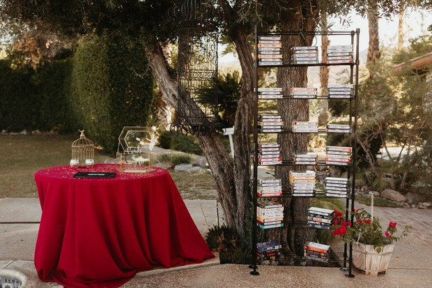Wedding seating chart with VHS tapes