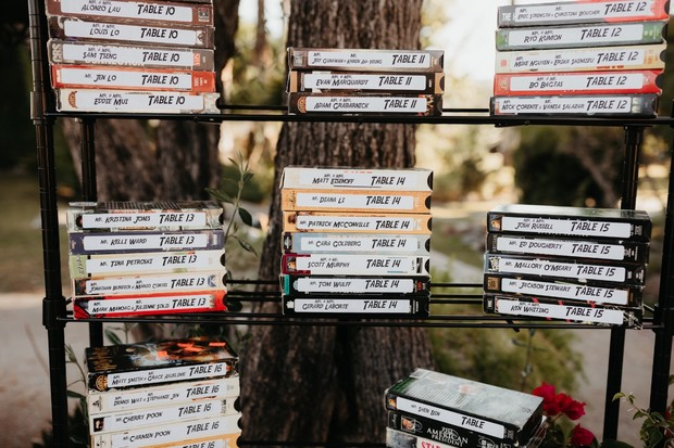 retro wedding seating display on old VHS tapes
