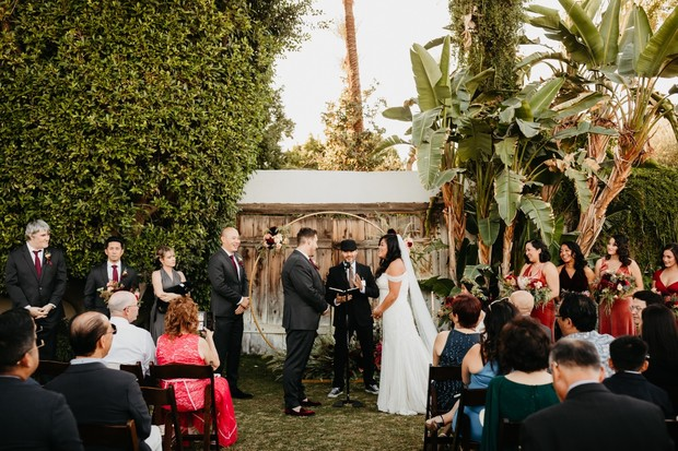 Fall wedding ceremony in Palm Springs