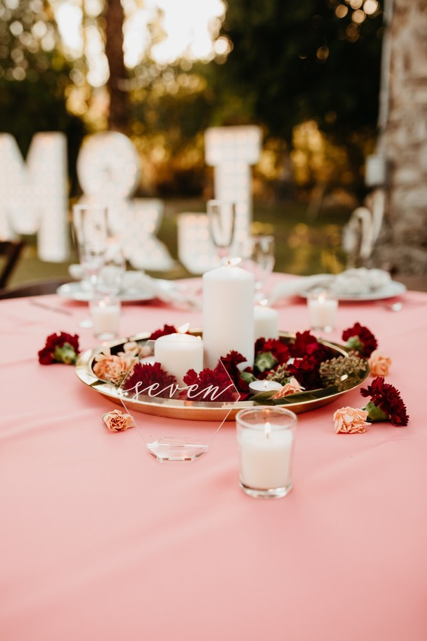 clear table number for wedding