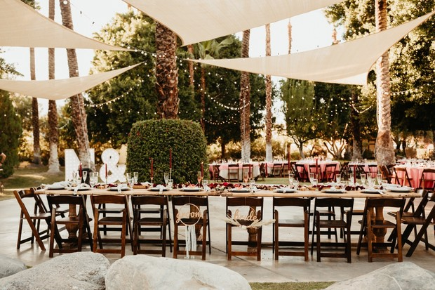 poolside reception in Palm Springs