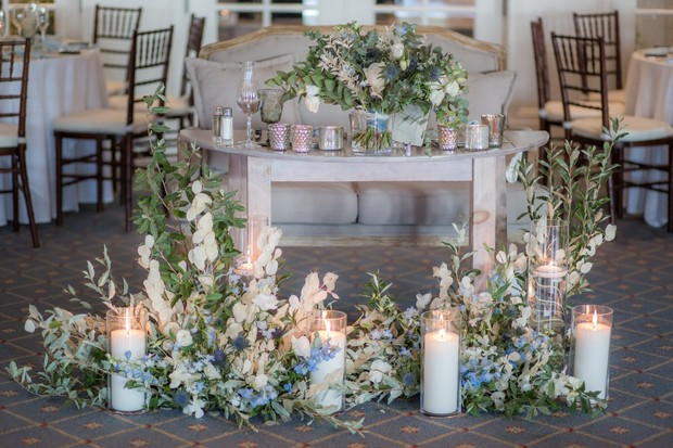 sweetheart table design with florals and candles