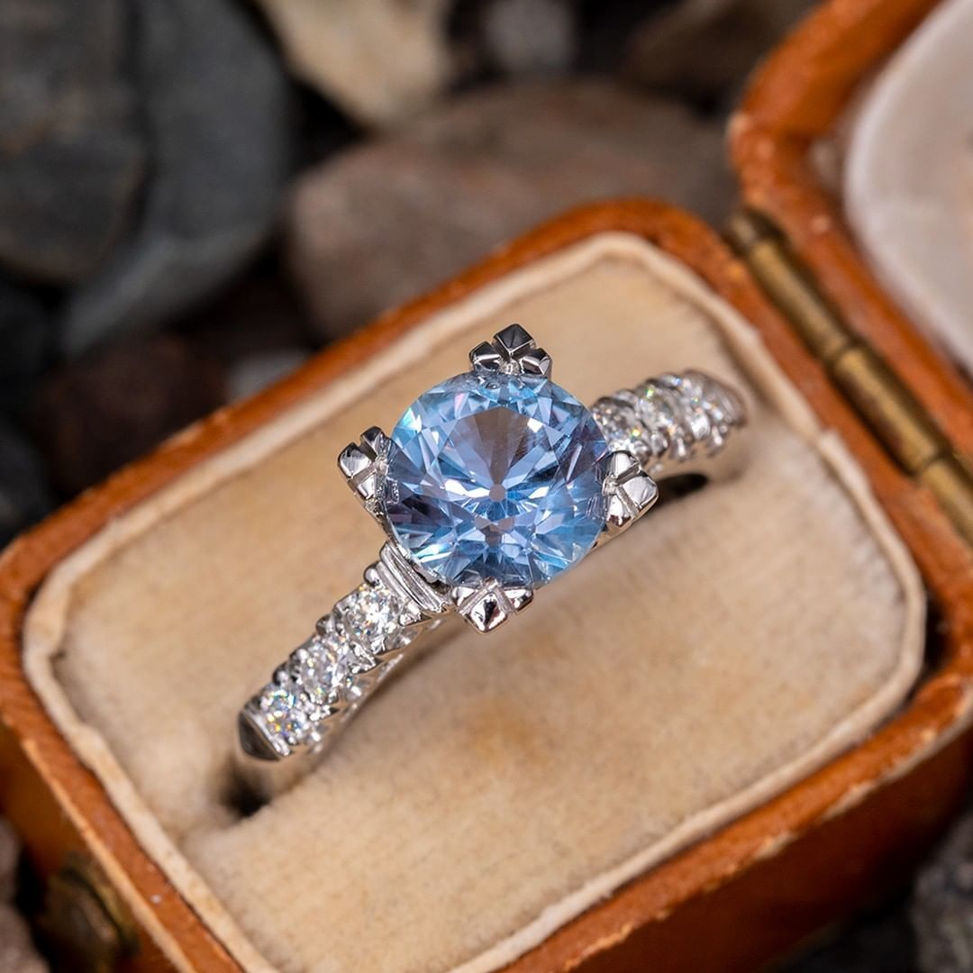 Beautiful Light Blue No Heat Montana Sapphire Ring in 1950's Mounting. Sku AT60320.