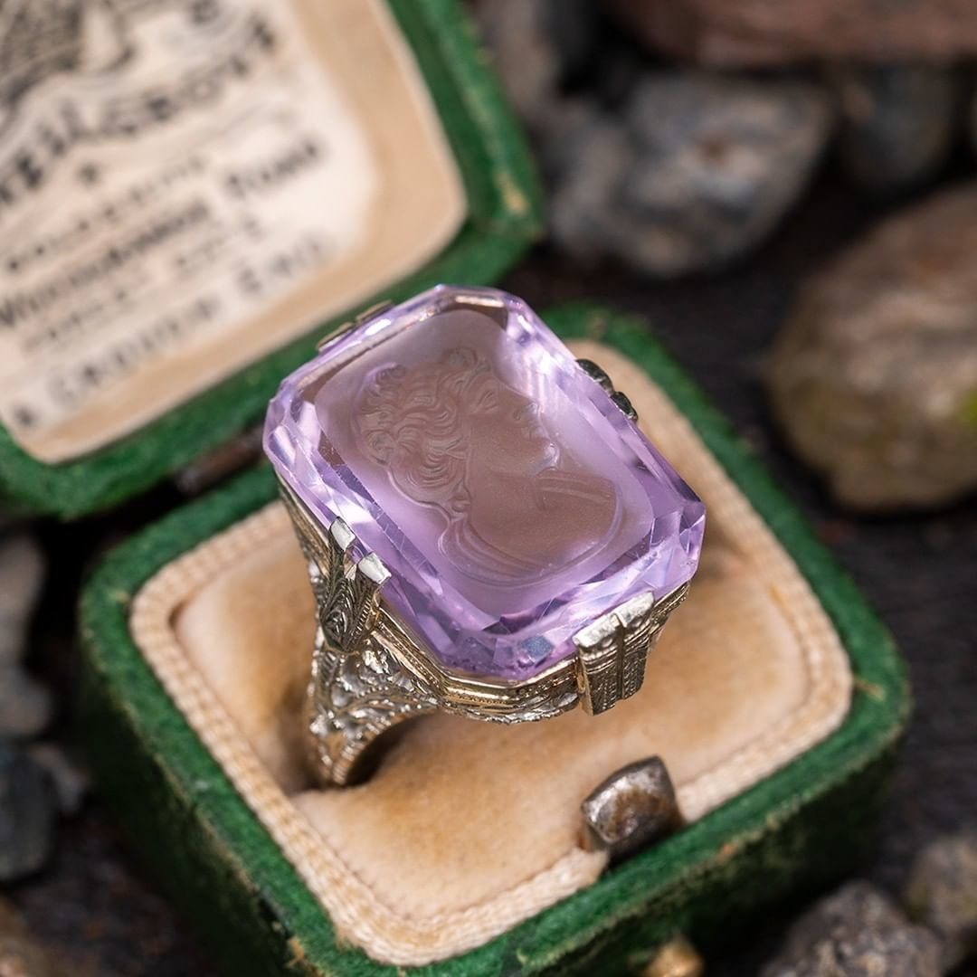 Antique Hand Carved Amethyst Intaglio Ring Filigree. Sku A60292.