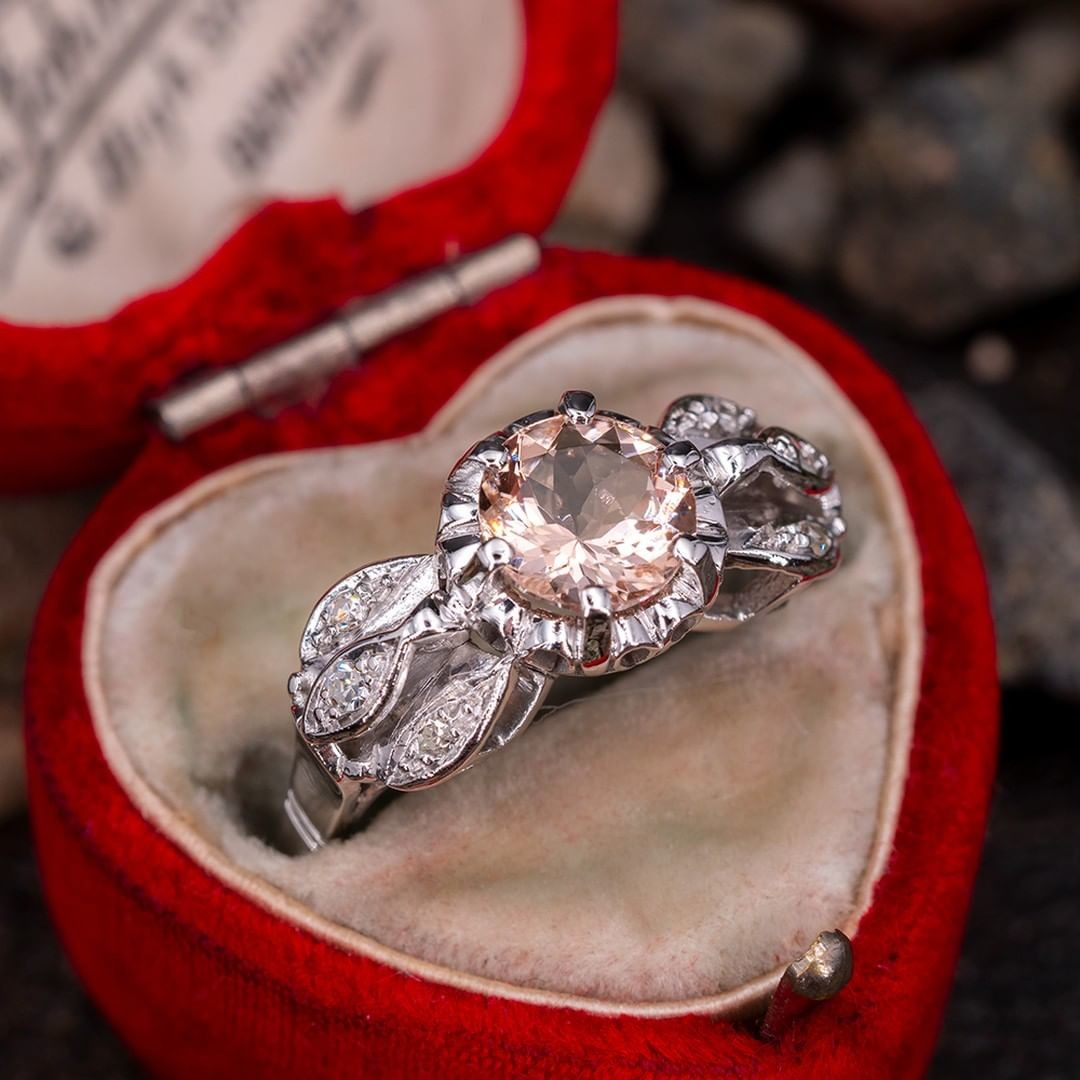1 Carat Morganite Engagement Ring Unique Vintage Mounting. Sku A60289.