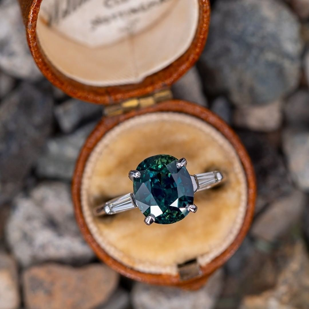 5 Carat No Heat Teal Sapphire Engagement Ring w/ Baguettes. Sku A60190.
