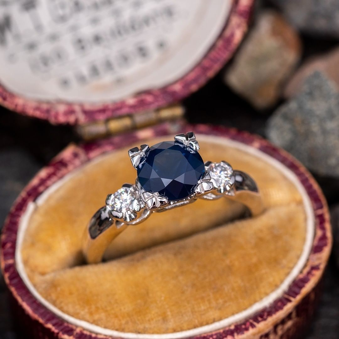 Dark Blue Montana Sapphire Engagement Ring Platinum w/ Diamonds. Sku AT60313.