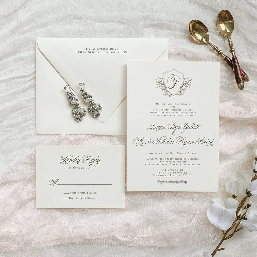 Happy Wedding Day to Loren + Nicholas! The happy couple used our Stella Crest and Flourish monogram from