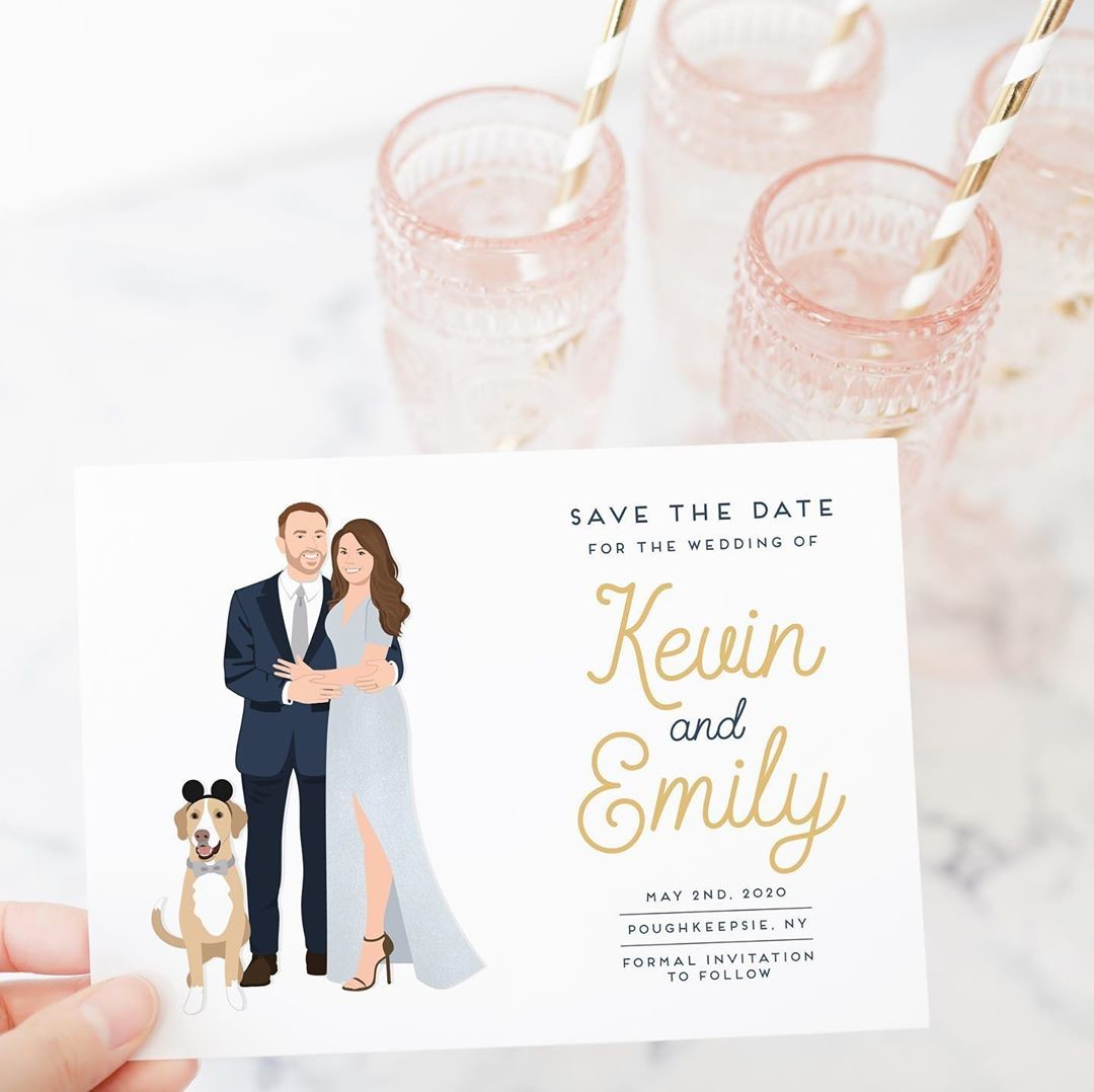 ⁠This pup wearing Mickey ears is just too adorable! What a paw-fect addition to Kevin and Emily's save the date 😊 If you got engaged
