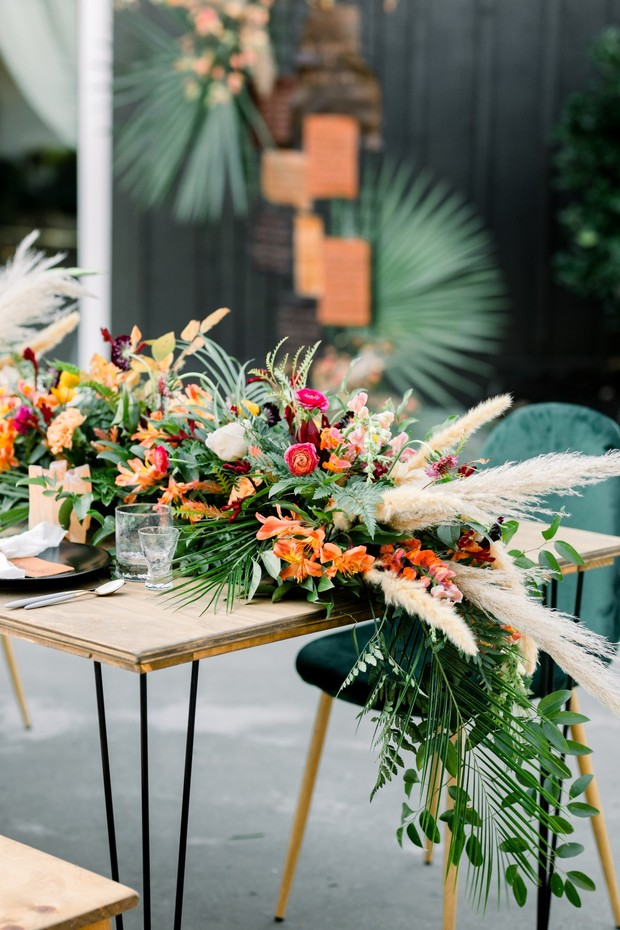 overgrown floral table decor