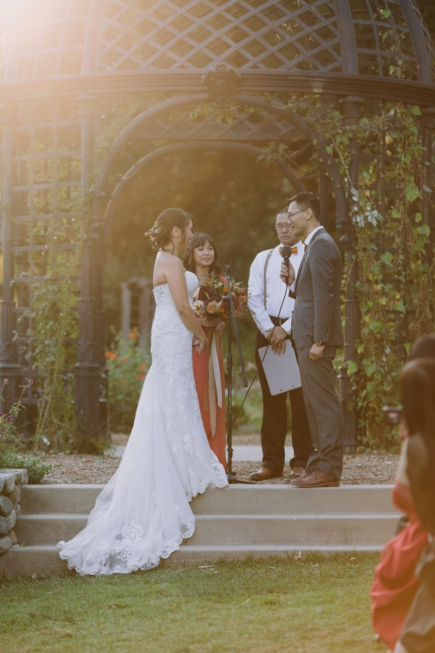 wedding ceremony at sunset in a gorgeous garden