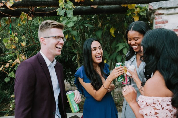wedding guests at the laid back cocktail hour