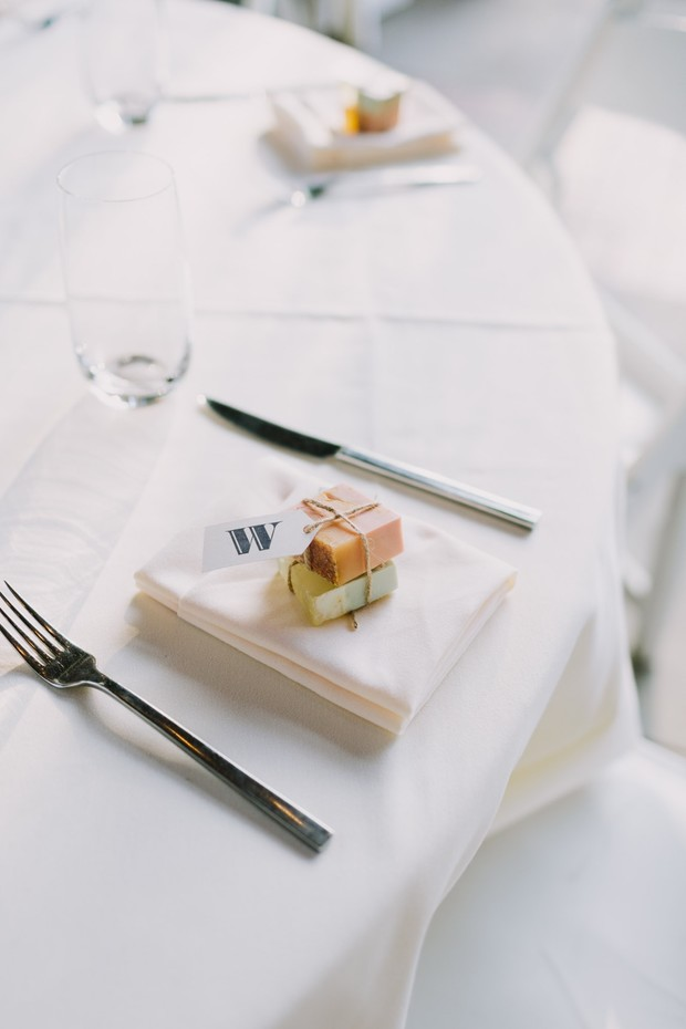 wedding favors at place setting