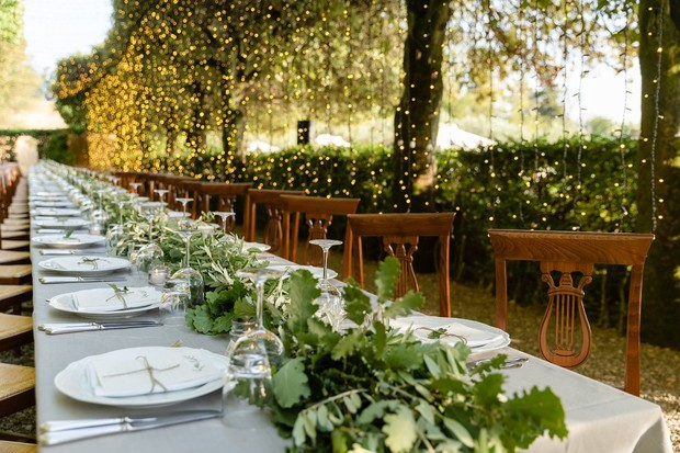 family style wedding seating in Tuscany