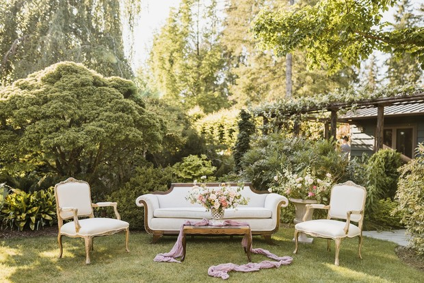 romantic garden wedding lounge