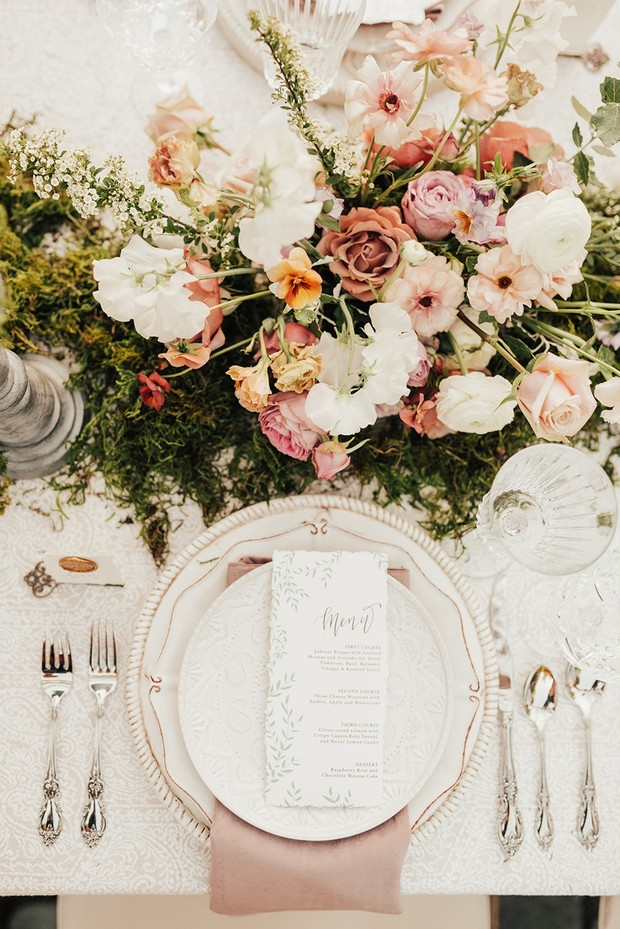 elegant garden themed wedding table decor
