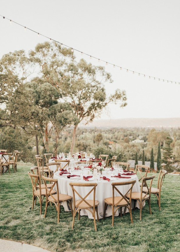 A Bright And Cheerful Neutral Toned Wedding With Pops of Burgundy