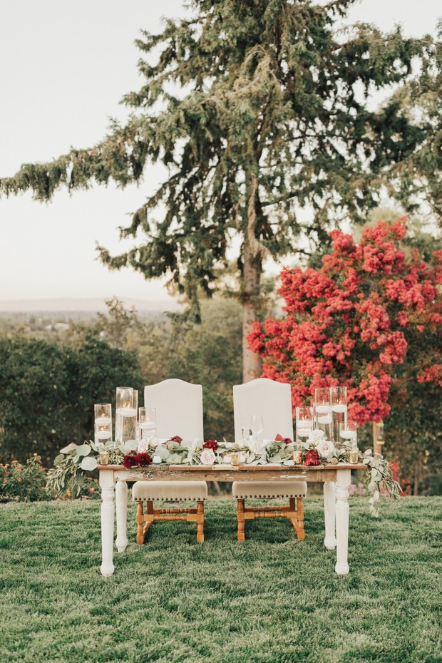wedding sweetheart table in neutral tones