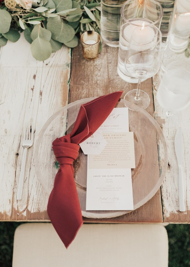 modern rustic chic wedding place setting