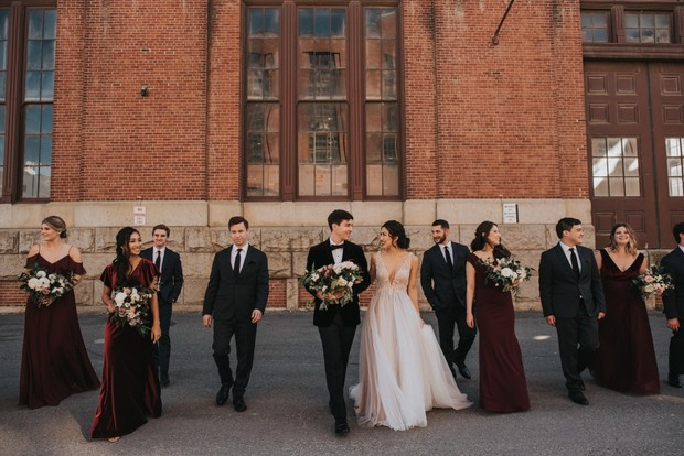 romantic and edgy wedding party