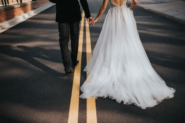 wedding couple on their way to get married