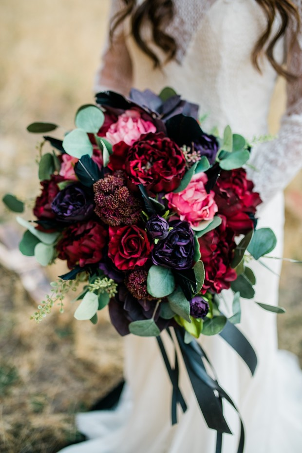 Moody wedding bouquet with fake flowers
