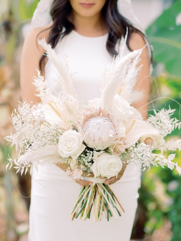 neutral and dried floral wedding bouquet