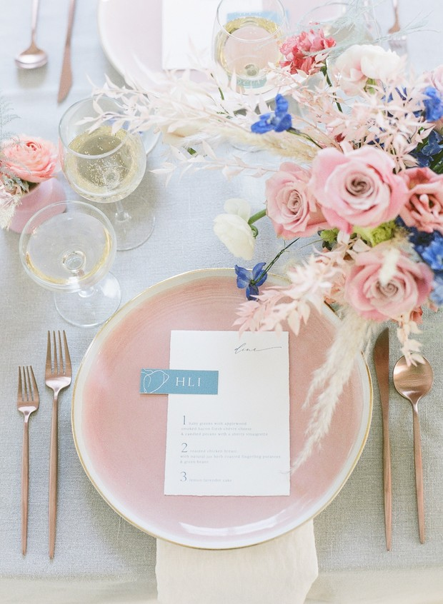 soft pink and blue modern wedding place setting